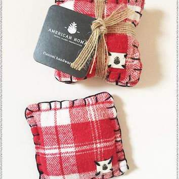 AMERICAN NOMAD Flannel Hand Warmers | Red Plaid | Set of 2