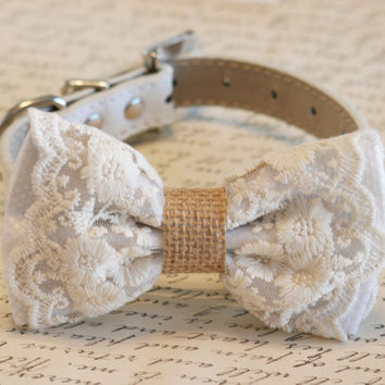 White Dog Bow Tie, Lace and Burlap, Rustic, Country wedding, boho, Dog Lovers,Pet wedding accessory, Proposal Idea