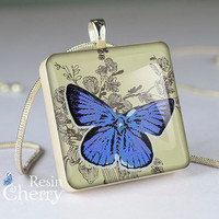blue butterfly jewelry,art scrabble tile pendant,resin pendants- A0259SP
