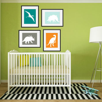 Dinosaur Nursery Art, Dinosaur Nursery Wall Art, Dinosaur Art, Dinosaur Nursery Decor, Dinosaur Wall Art, Playroom wall art, Set of 4