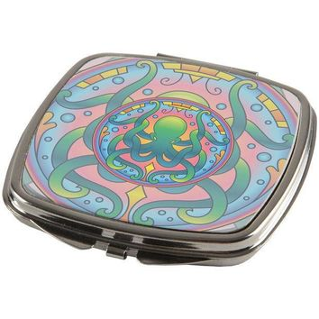 CREYCY8 Mandala Trippy Stained Glass Octopus Compact