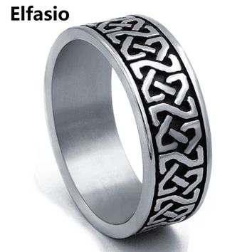 8mm Men's Boy's Stainless Steel Ring Band Celtic Knot Silver Black Biker jewelry Size 8-15