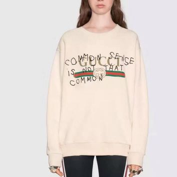 GUCCI HOT SALE Round neck letters printed loose long sleeve sweater