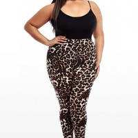 Plus Size Crazy For Zoo Jersey Leggings | Fashion To Figure