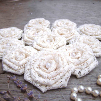 Ivory Lace Flowers Set of 12 handmade fabric rosettes Wedding Decor Bridal Wedding Party Favor Rustic Wedding Bouquet Shabby Chic Roses
