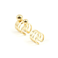 Dot And Dash Set Of 2 Rings W/ Spheres - Gold