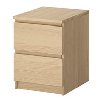 "MALM Chest with 2 drawers, white stained oak - white stained oak veneer - 15 3/4x21 5/8 "" - IKEA"