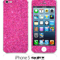 iPhone 5 NEW Pink Glitter Skin FREE SHIPPING