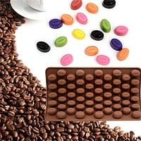 2017 New Arrival High Quality Bake Mold Silicone 55 Cavity Mini Coffee Beans Chocolate Sugar Candy Mold Cake Decor