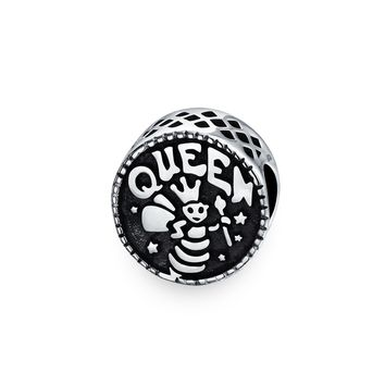 Word Queen Bee Mother Black Round Charm Bead 925 Sterling Silver