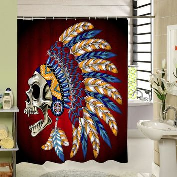 Skull Custom  Shower Curtains Fashion  Beautiful Bathroom Products High Quality Waterproof Shower Curtain YH-062