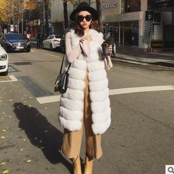 2018 Xulanbaby Winter Office Lady Faux Fox Fur Coat Warm Fur Coat V-Neck Furry Vest Lolita Waist Outwear Long Fur Vest AW287
