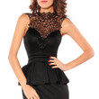 Black Sleeveless Hollow-out Back Peplum Dress with Embroidered Lace High Neck