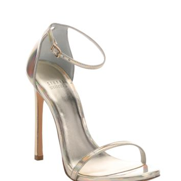 Stuart Weitzman Gold Iridescent Leather 'nudist' Stiletto Sandals | Bluefly