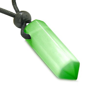 Amulet Neon Green Simulated Cats Eye Crystal Point Protection and Magic Powers Wand Pendant Necklace