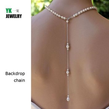 N2016040302 New 2016 backdrop necklace pendant women silver link drop back chain jewelry pearl sexy wedding bride accessories
