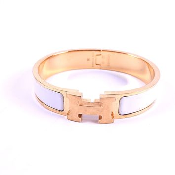 Auth HERMES Clic Clac PM H Bangle Bracelet Enamel White Gold Plated A-8126