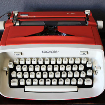 Vintage Orange Royal Safari Manual Typewriter