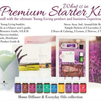 Young Living Premium Starter kit with free diffuser necklace or diffuser bracelet 100% Pure Essential Oil