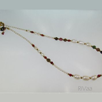 White Freshwater Pearls,Tourmaline and Agate Necklace