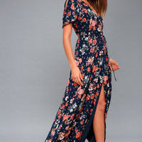 Divine Days Navy Blue Floral Print Wrap Maxi Dress