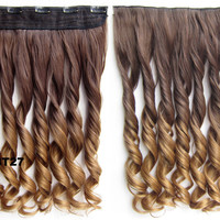 Clip in synthetic hair extension hairpieces 5 clips in on wavy slice hairpiece GS-888 8T27,60cm,130grams 1PCS