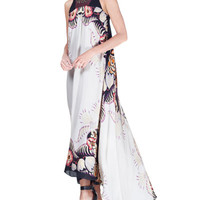 Etro Jungle-Print Floral Silk High-Low Gown, Ivory