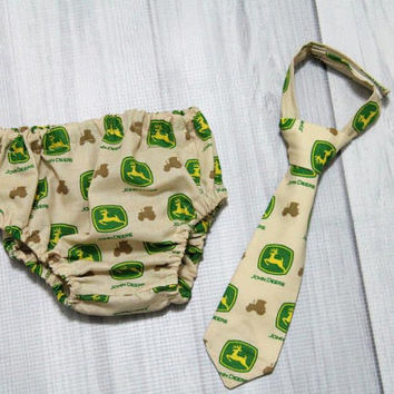 John Deere baby neck tie and diaper cover, various sizes. One set left 12m fabric discontinued  Birthday Cake Smash Set.