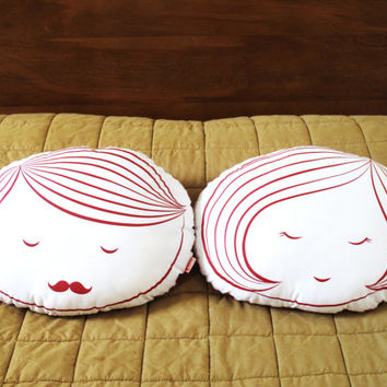 Limited Edition Girl Face Plush Pillow in Red Print