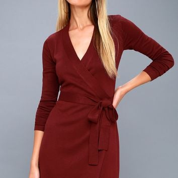 Literary Lover Burgundy Wrap Sweater Dress