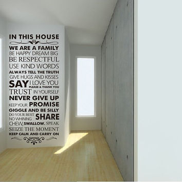 Family wall decal  family wall quote decal Family Rules vinyl wall decal in this house wall decal