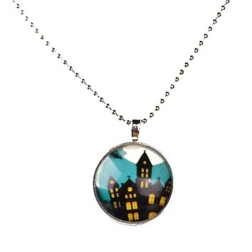 Noctilucent Halloween Cabochon Glass Haunted house castle Pendant Necklace Chain