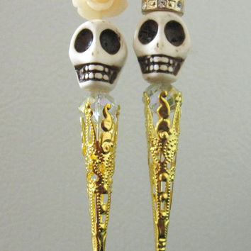 King & Queen Day of the Dead Cake Topper Sugar Skull Gothic Wedding Pin Bride Groom