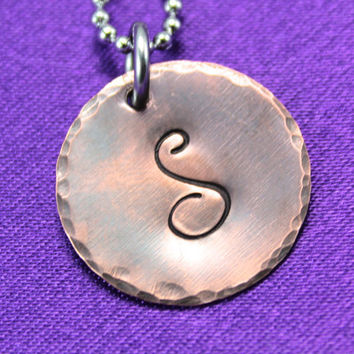 Hand Stamped Copper Monogram Necklace, Mixed Metal Monogram Necklace, Stamped Copper Initial Necklace,