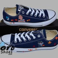 Hand Painted Converse Low Sneakers. Pocahontas, Meeko, Flit. Handpainted shoes.