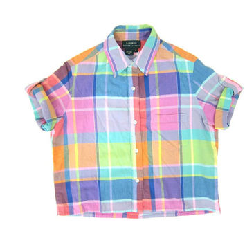 90s colorful plaid shirt button up crop top madras boxy tee Vintage short sleeve preppy Tshirt cotton basic shirt dells womens Small