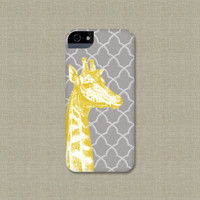 Fun iPhone 5 Case, Yellow and Gray iPhone 4 / 4S, Giraffe Galaxy S3 / S4, or iPod Touch Cover