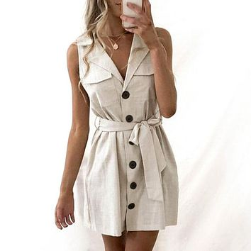 Elegant Short Blazer Women Dress Sexy Bow Belt Tie Solid Mini Dress Linen Button Beach Wrap Party Dresses Shirt