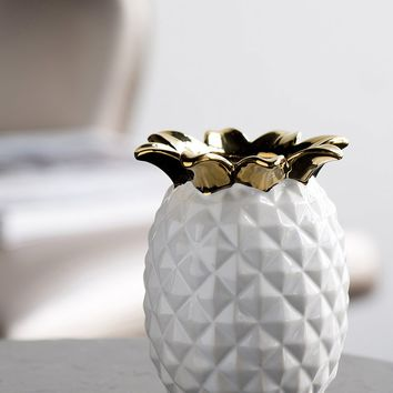 "Ceramic Pineapple Vase in White and Metallic Gold - 5.25"" Tall"