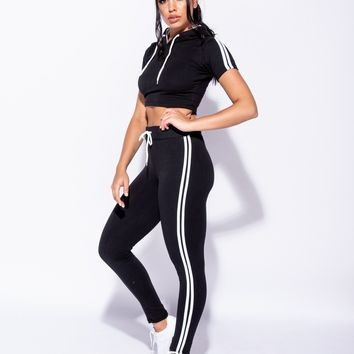 Side Stripe Hooded Crop Top & Trousers Lounge Set