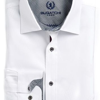 Men's Big & Tall Bugatchi Shaped Fit Sport Shirt,