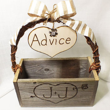 Beach Wedding Advice Card Box With Burlap Bow