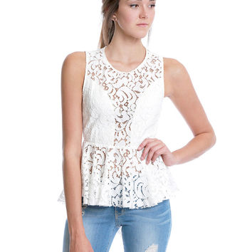 My Little White Lace Sleeveless Top