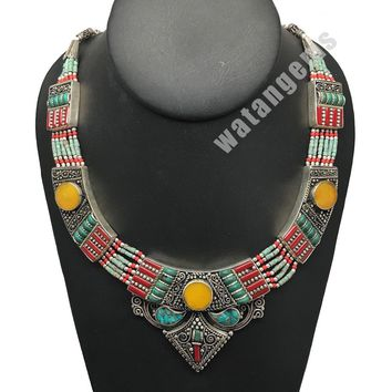 Ethnic Tribal Nepalese tribal Amber, Red Coral & Turquoise Inlay Necklace, E232