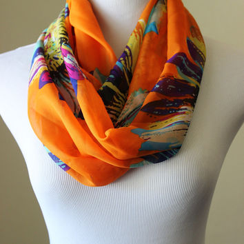 Orange floral chiffon boho scarf, bright abstract sunflower print