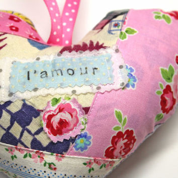 French Ornament Mini French Word Pillow Mini Pillow Hanging Heart  Valentines Heart - Heart Pillow - L' Amour - Shabby Chic French Pillow