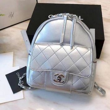 CHANEL Trending Women Stylish College Leather Satchel Backpack Bookbag Silvery I-WXZ2H