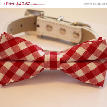 Plaid Red Dog Bow tie, Christmas gift, gift idea, Red bow,Dog Bow tie, Red Dog Bow tie, Love Red