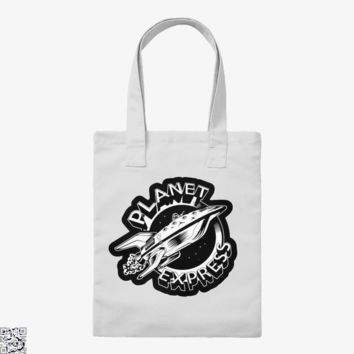Planet Express Black And White, The Simpsons Tote Bag