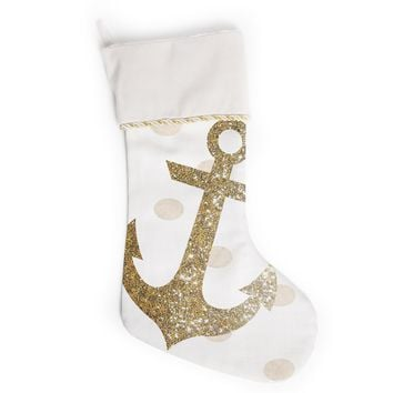 "Nika Martinez ""Glitter Anchor"" Gold Sparkles Christmas Stocking"